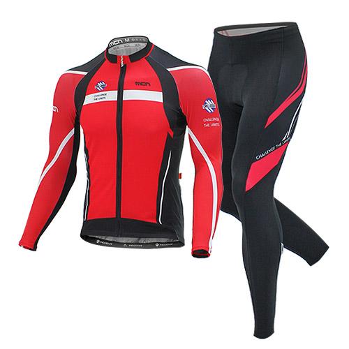 [더산스포츠](RED MAX SET)레드맥스 사이클링 세트(봄~가을용) 긴팔져지+9부패드바지자전거의류 자전거복 사이클웨어 라이딩 세트