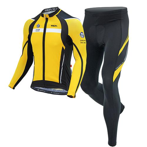 [더산스포츠](YELLOW MAX SET)옐로우 맥스 사이클링 세트(봄~가을용) 긴팔져지+9부 패드바지자전거의류 자전거복 사이클웨어 라이딩 세트