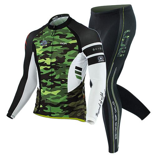 [더산스포츠](WILDCAMO GREEN SET)와일드카모 사이클링 세트(봄~가을용) 긴팔져지+9부패드바지자전거의류 자전거복 사이클웨어 라이딩 세트